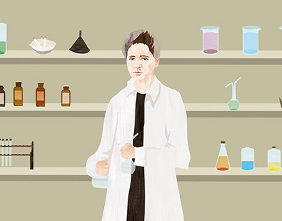 Illustrations of Marie Curie for an educational video