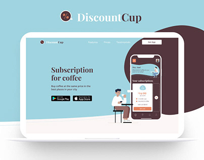 DiscountCup - Coffee App Landing page