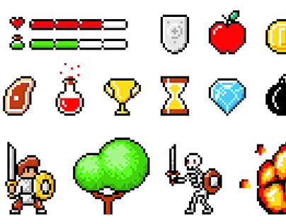Minimalistic pixel art. Video-game pixel magic items