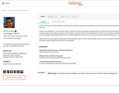 Belong(dot)co - User dashboard - Web UX/UI design