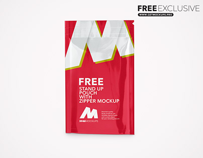 Stand Up Pouch W/ Zipper Free Mockup