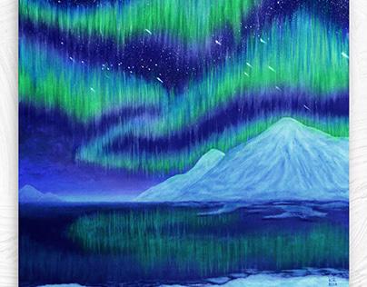 Northern lights in glaciers