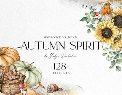 Autumn spirit. Watercolor fall clipart