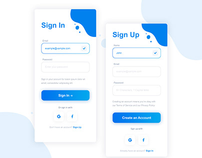 Free Login and Sign Up page UI (PSD)