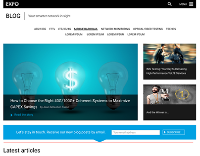 EXFO's Blog Redesign / Wireframes