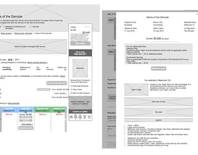 Wireframes design - ecommerce travel booking website