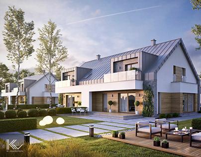 Modern semi-detached/row house