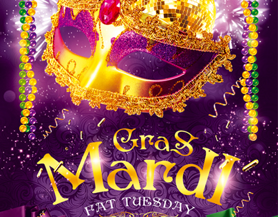 Mardi Gras Party Flyer vol.4