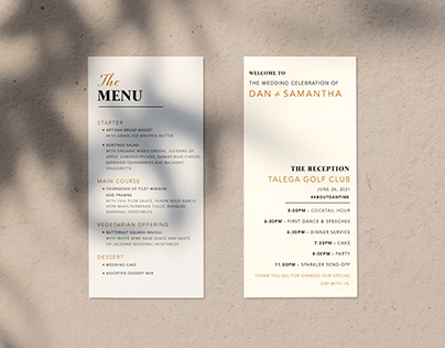 Elegant Minimal Wedding Menu Design