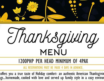 The Bowery's Thanksgiving Menu