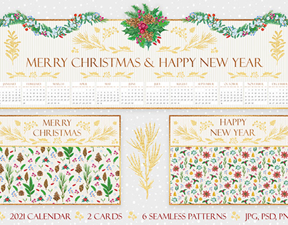 2021 golden calendar and postcards