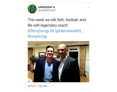 Second UNPACKIN' it tweet plugging Tony Dungy Interview