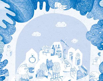 illustration for a comercial center