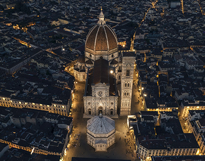 Aerial view of Florence in blue hour