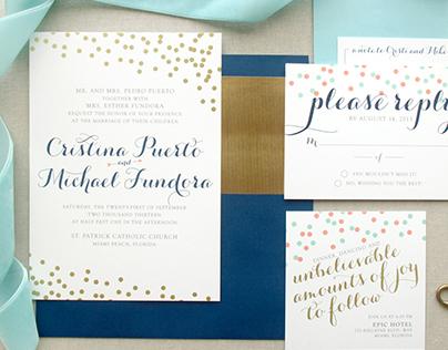 Gold Confetti Wedding Invitation Suite