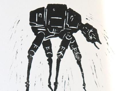 Star Wars & Dali | 21x30cm | Linocut\Video