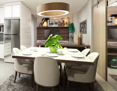 Kitchen + Living Room
