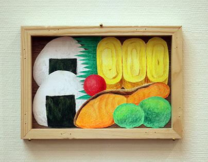 Japanese bento food collage illustration / お弁当のイラスト