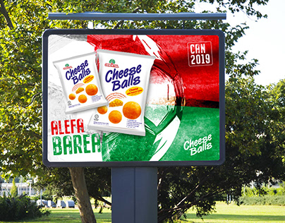 Création visuel pour campagne publicitaire Cheese Balls