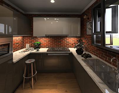 Industrial glossy kitchen design