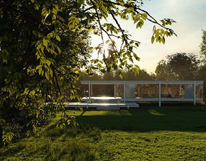 Visualisation of Glass house by Mies van der Rohe