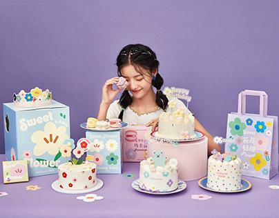 Sweet Flower Cake & Macaron Packaging.