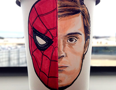 COFFEE CUP DRAWING - SPIDERMAN HOMECOMING
