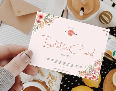 Free Girl Showing Invitation Card Mockup