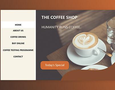 UI design (header) of a coffee shop