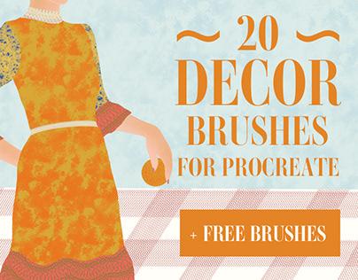 Decor Brushes for Procreate + FREE BRUSHES