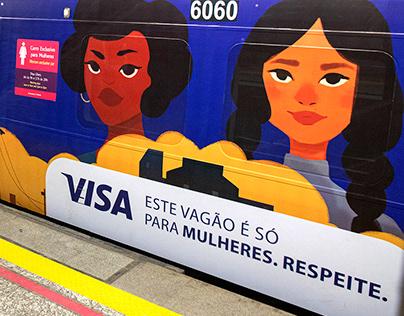 Ilustrações Vagões Metro Rio | via Visa
