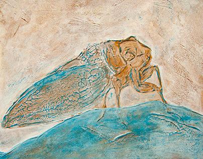 Cicada tibialis, acrylic painting