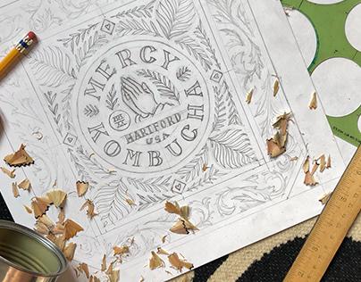 Hand-drawn Kombucha Label Mockup