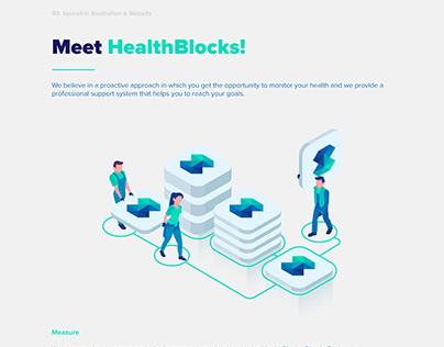 HealthBlocks Logo Design, Illustrations and Web Design
