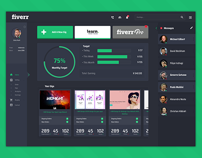 Fiverr Dashboard Design