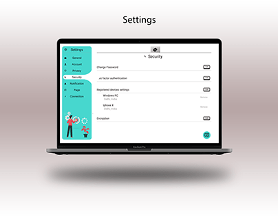 Settings screen UI- web design