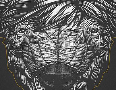 BISON BLEU Lines & dots illustration