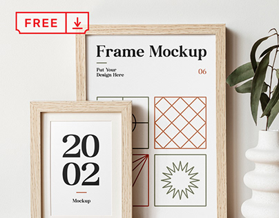 Free Wood Frames on Table Mockup