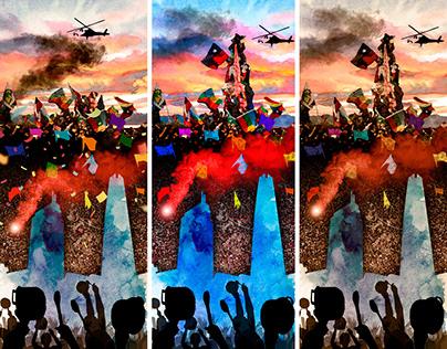 Collage Estallido Social de Chile