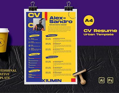 Resume/CV Urban Colored Design