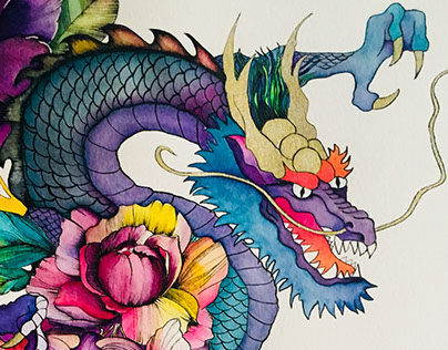 Dragon and Flowers