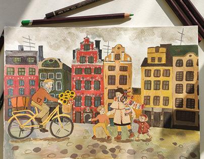 Tempera illustration. Stockholm