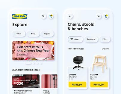 UI UX Ikea redesign. Neumorphism
