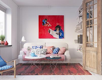 Cozy Scandinavian interior in Gothenberg(Free 3D MODEL)