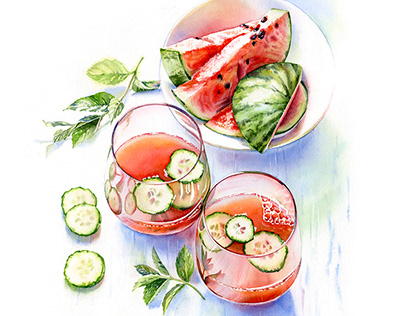 Watercolor Summer Beverages