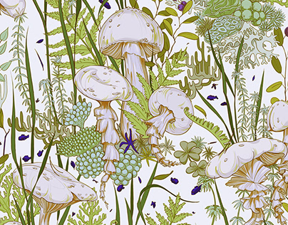 Jellyfish and Mushrooms pattern