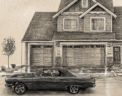 Car & House black and white drawing