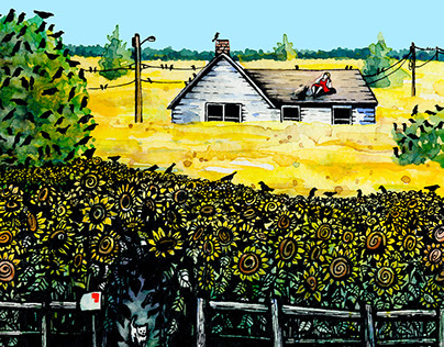 Sunflower Field Watercolor & Ink Illustration/Art Print