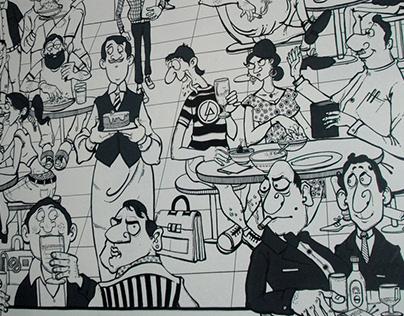 Wall Mural Tribute to Mario Miranda