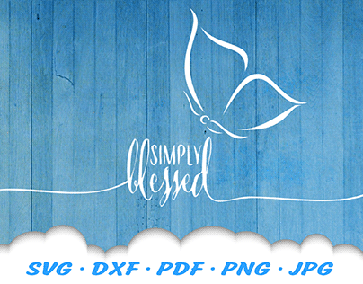 Simply Blessed Butterfly SVG Cut Files